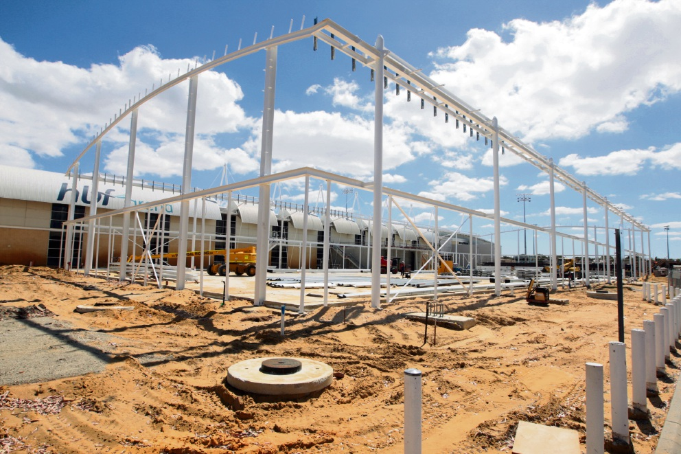 Exciting times ahead for the district's State Basketball League team: The Joondalup Wolves' new stadium is starting to take shape at Arena Joondalup. Picture: Bruce Hunt   d464354