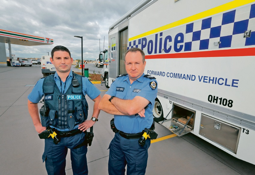 Constable Brett Eaton and Senior Constable Ian Wallace from the Midland Local Policing Team at a Mobile Policing Facility stationed at the 7 Eleven in Aveley. Picture: David Baylis