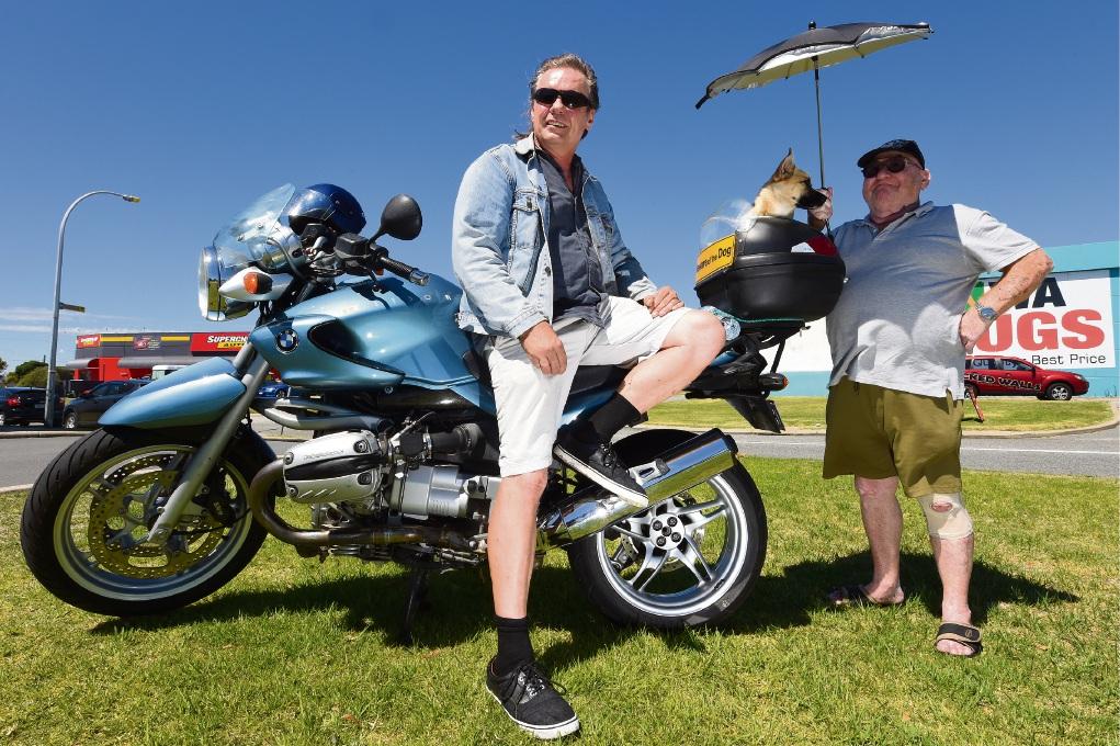 Elijah Wyatt with Rastus and Dave 'Jock' Stevens. Picture: Jon Hewson