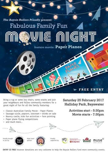 Paper Planes showing at free family movie night in Bayswater this Saturday