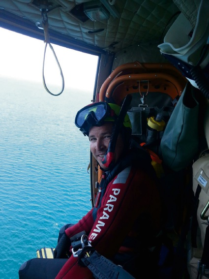 Ben Harris in flight as a critical care paramedic.