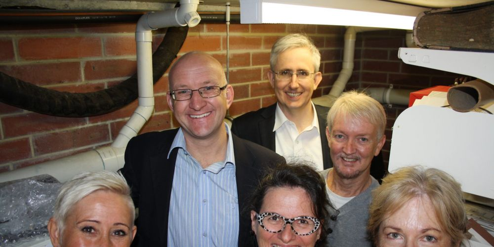 (Back) Paul Collins, (middle) Simon Millman and Mark Hodge. with (front) Christina Gustavson, Phillipa Baines and Sheila Robinson.