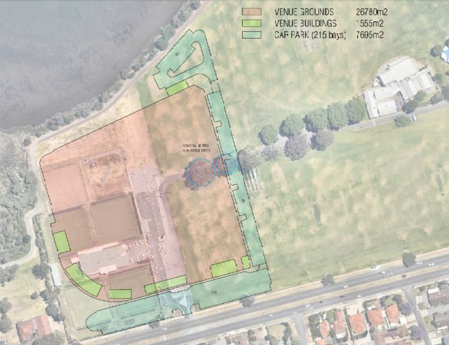 The footprint a wave park would leave at the proposed Tompkins Park site.