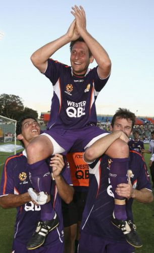 Bobby Despotovski (centre), Simon Colosimo and Jamie Harnwell will play for the Australian Legends against a team of Manchester United Legends on March 25 at Perth Oval. Picture: Paul Kane/Getty Images