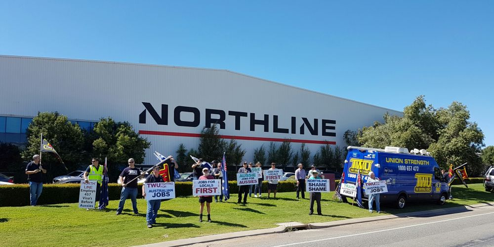 Transport Workers Union members protesting at Northline. Picture: David Baylis.