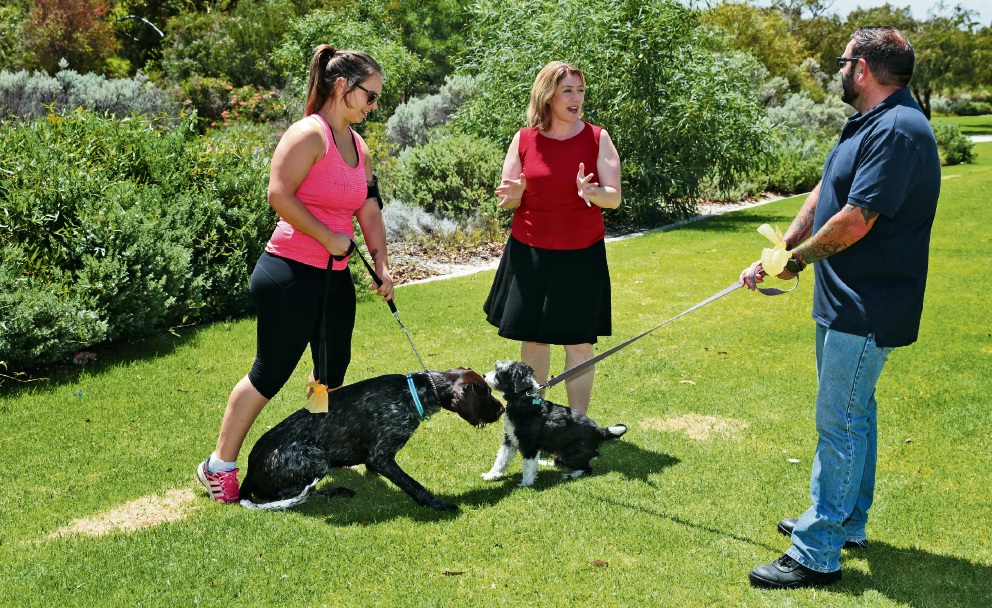 Sigrid Matthews (Banksia Grove) with Duke, MLA Rita Saffioti and Jason Armstrong (Banksia Grove ) with Billy. Picture: Martin Kennealey