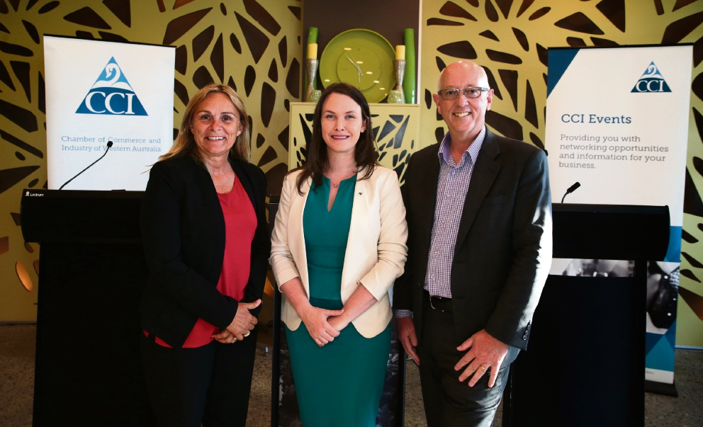 Labor candidate for Wanneroo Sabine Winton, Cath Langmead (director of advocacy at CCI WA) and Liberal candidate for Wanneroo Paul Miles. Picture: Martin Kennealey
