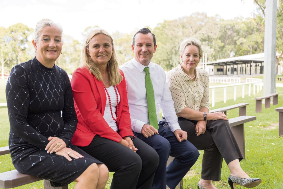 Wanneroo Mayor Tracey Roberts, Labor candidate for Wanneroo Sabine Winton, Opposition Leader Mark McGowan and North Metropolitan upper house candidate Alannah MacTiernan