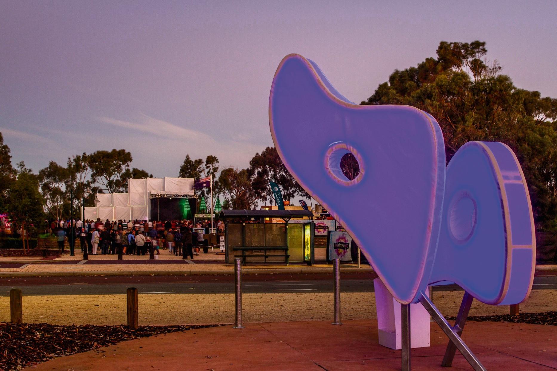 Emperor Gum Moth: Joondalup sculpture drawing moths to the frame