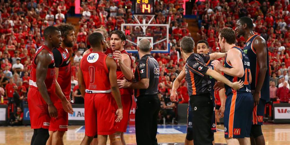 Tempers flare during the Wildcats finals win against the Cairns Taipans at Perth Arena on February 20.