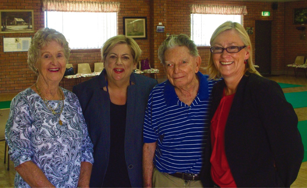 Opposition spokeswoman for Seniors and Ageing Margaret Quirk (second from left) and Labor candidate for Bicton Lisa O'Malley (right) with seniors Val Timewell and Bob Howe.