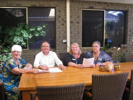 Mandurah MLA David Templeman with board members of the women's refuge.
