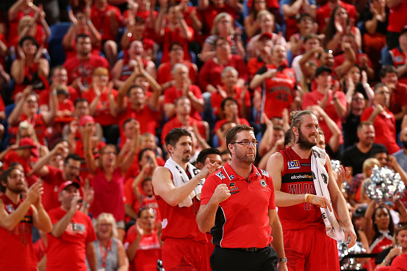 Trevor Gleeson, coach of the Wildcats, celebtrates a basket late in the game during game one of the NBL Grand Final series between the Wildcats and Illawarra Hawks at Perth Arena. Picture: Paul Kane/Getty Images