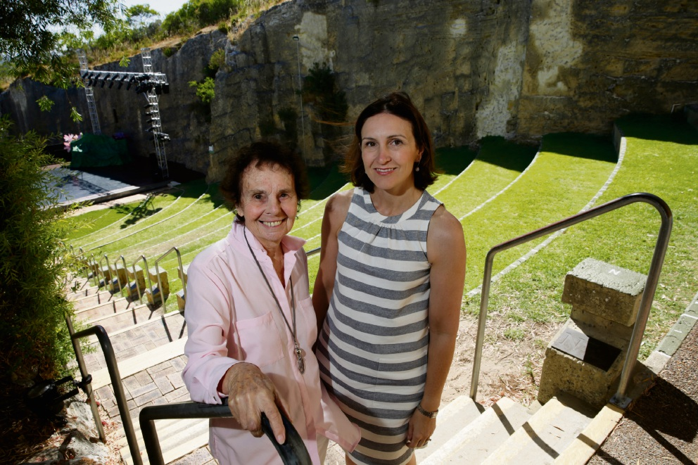 Diana Waldron and Cambridge Mayor Keri Shannon at Quarry Amphitheatre. Picture: Andrew Ritchie           d464384
