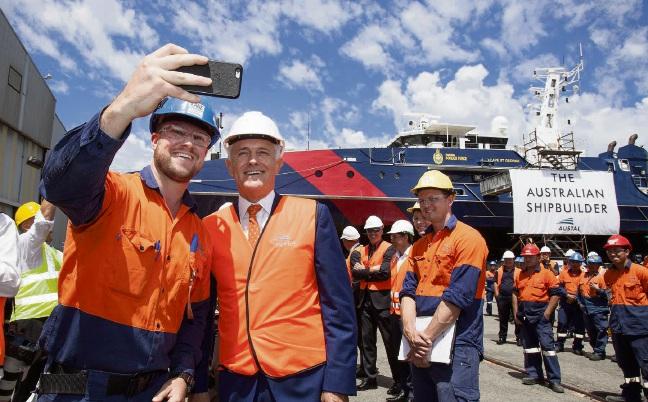 Malcolm Turnbull with Austal worker Kane Turco.
