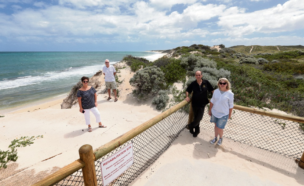 Two Rocks Beach Action Group members Ali Moore,Martin Roberts and John and Shey Young. Picture: Martin Kennealey d465777