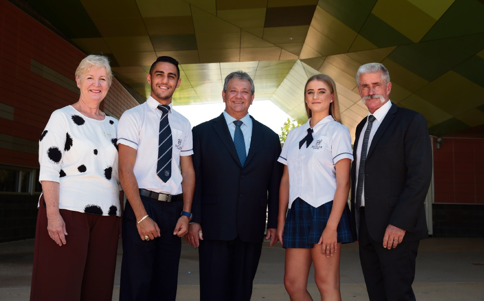 Butler College associate principal Helen Macri, head boy Shaheen Subih, principal Armando Giglia, head girl Alicia Moss and associate principal Barry Rose.        Picture: Martin Kennealey d465451