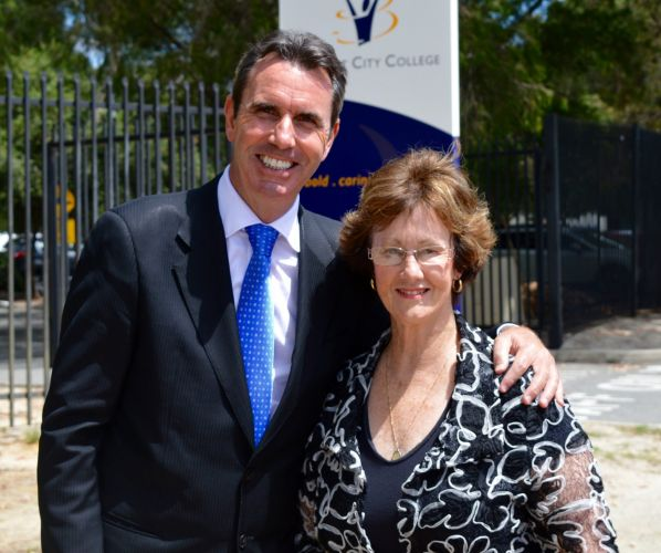 Education Minister Peter Collier and Belmont MLA Glenys Godfrey at the Belmont City College funding announcement.