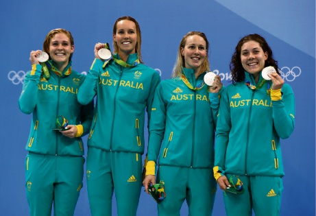 Tamsin Cook (right) with Olympic teammates Leah Neale, Emma McKeon and Bronte Barratt.