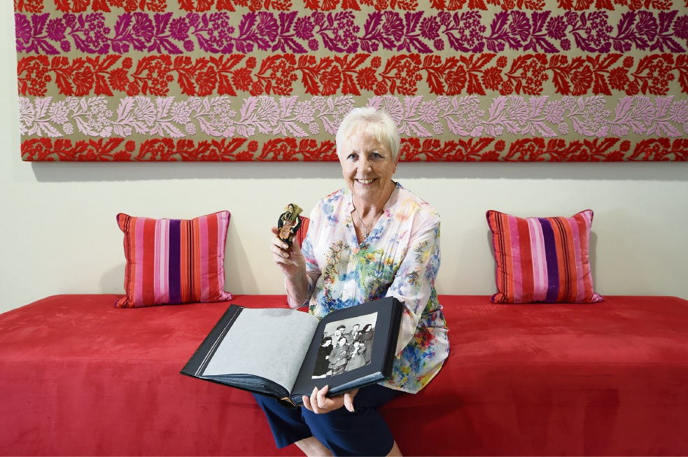 Chris Jackson at home in Fremantle with some keepsakes, including the small doll given to her, from her father's ordeal in the Munich Air Disaster. Picture: Jon Hewson