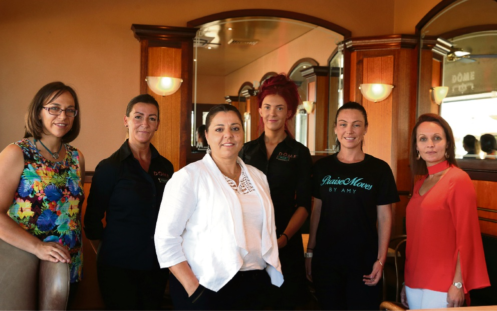 Empowered women: Online business owner Marlize Venter with Dome franchisee Rachel Turley, event facilitator Claire Neill, Dome Butler franchisee Ellis Turley, Amy Lee from Praise Moves and Rebecca Mason from Mason Migration. Picture: Martin Kennealey www.communitypix.com.au   d465507