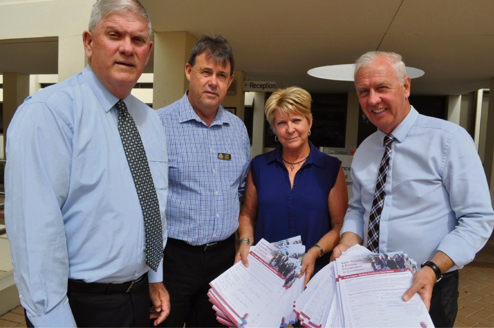 Cockburn Mayor Logan Howlett, engineering and works director Charles Sullivan, resident Ann Taylor and Fran Logan with the petition.
