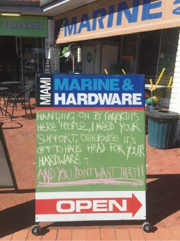 A photo of this sign outside Falcon, Miami Marine and Hardware was shared extensively on social media.