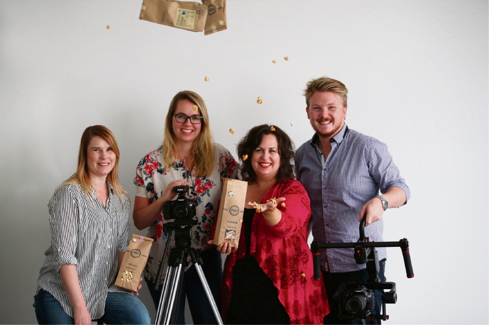 Lauren Curtis-Power, Nanda Gunnink, Suzanne Waldron and Adam Auzins, who are behind a new documentary web series that tells stories of people who have contributed to the community. Picture: Andrew Ritchie