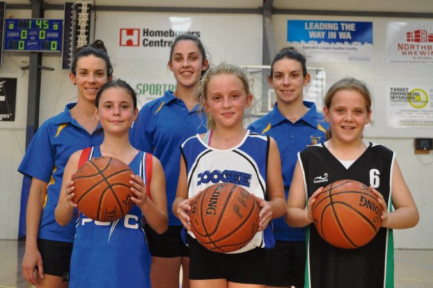 Cockburn Cougars women teammates Nicole Roberts, Nicole Pitcher and Alyce Roberts. Front row: PCYC Fremantle's Lacey Paruscio, Coogee Basketball Club's Holly Muir and Spearwood Hawks Basketball Club's Teagan McArthur.