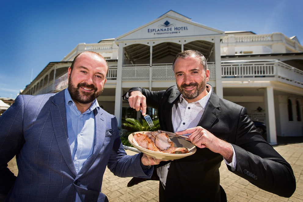 Esplanade Hotel's Steven James and Blair Wallace gear up for April's Fremantle Bacon Festival. Picture: Will Russell