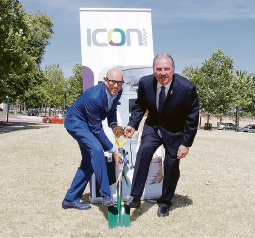 Icon Group founding chairman Stuart Giles and Rockingham Mayor Barry Sammels break ground for the new cancer centre this morning.