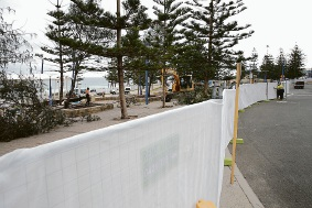 Construction works at Scarborough foreshore. Picture: Andrew Ritchie