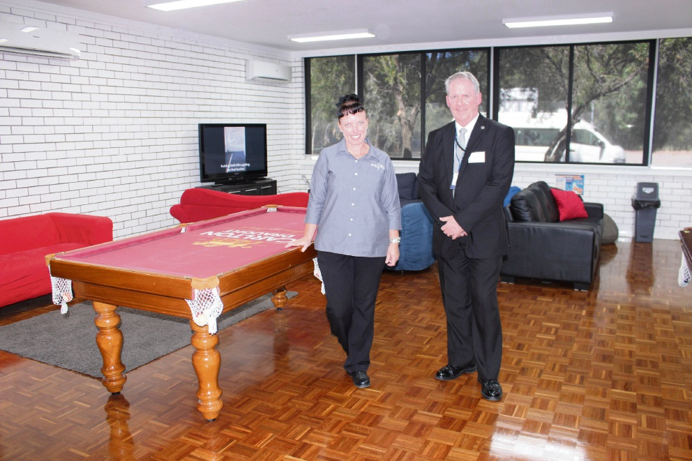 Kensington PCYC centre manager Amanda Dow and chief executive   John Gillespie check out the refurbished Safe Space.