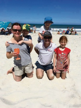 Matt Burley and his family at the beach before the incident.