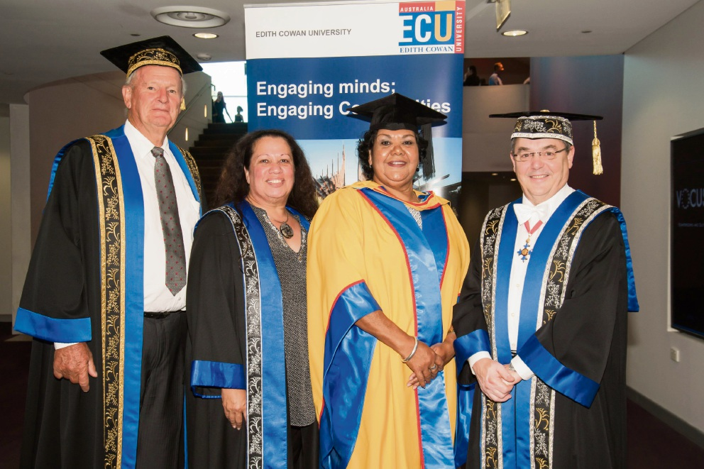 Chancellor Hendy Cowan, Professor Colleen Hayward, June Oscar and Vice Chancellor Steve Chapman.