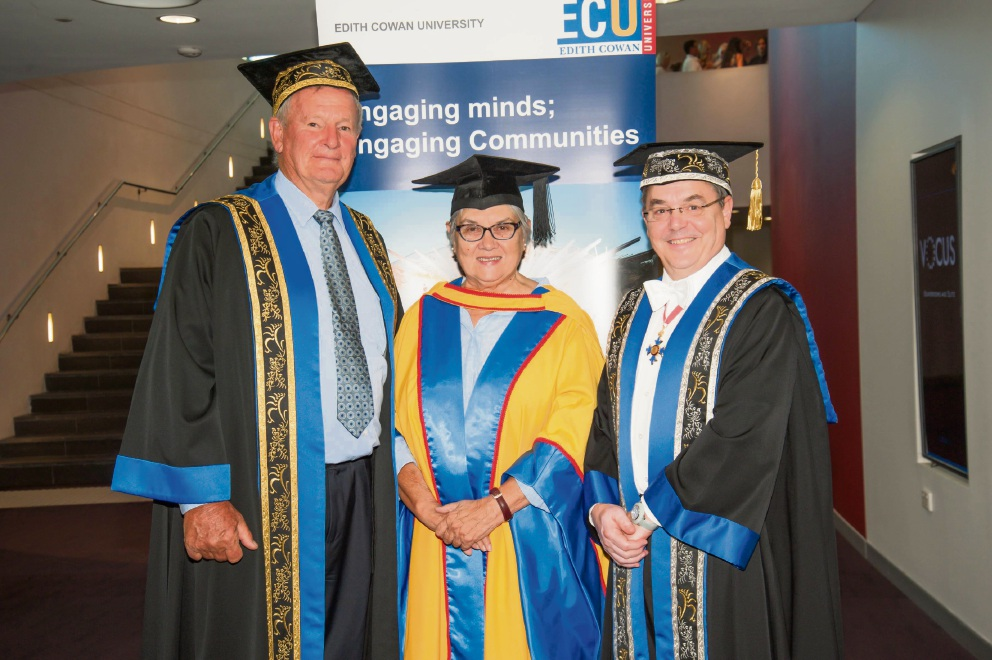Chancellor Hendy Cowan, Patricia Anderson and Vice Chancellor Steve Chapman.