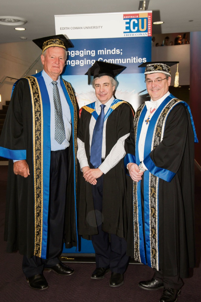 Chancellor Hendy Cowan, Michael Millward and Vice Chancellor Steve Chapman.