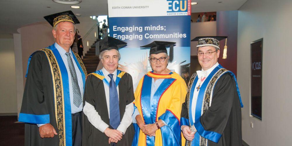 Chancellor Hendy Cowan, Michael Millward, Patricia Anderson and Vice Chancellor Steve Chapman.