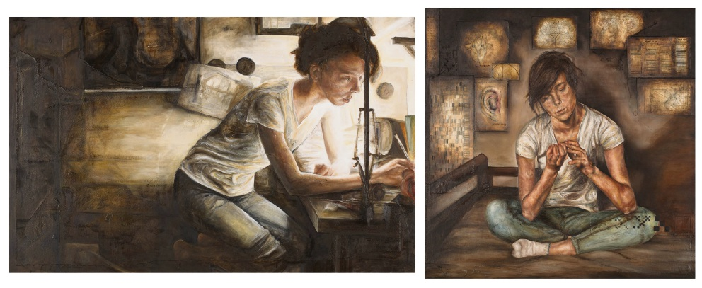 Melissa Clements, Study after Caravaggio's St Jerome: Part 1 and 2. Amberley Bradley, Rise.