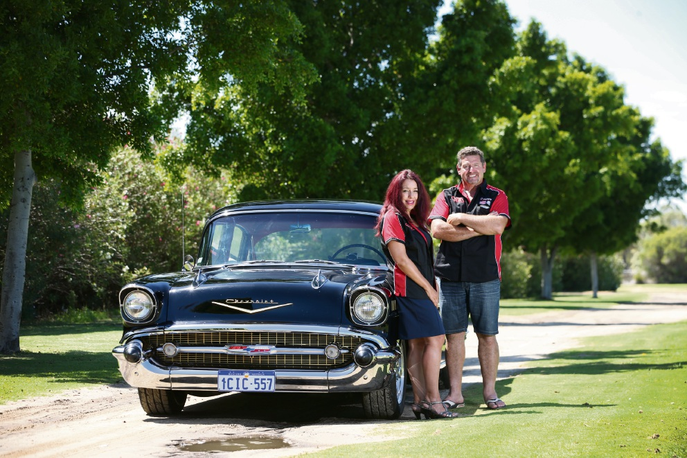 Helen Symes and Dino Palumbo from Willagee with their 1957 Chevy. Picture: Andrew Ritchie