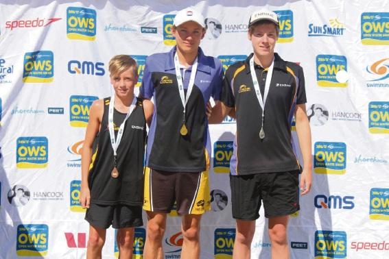Medallists Byron Kimber (bronze), Kieren Pollard (gold) and Jack Wilson (silver).
