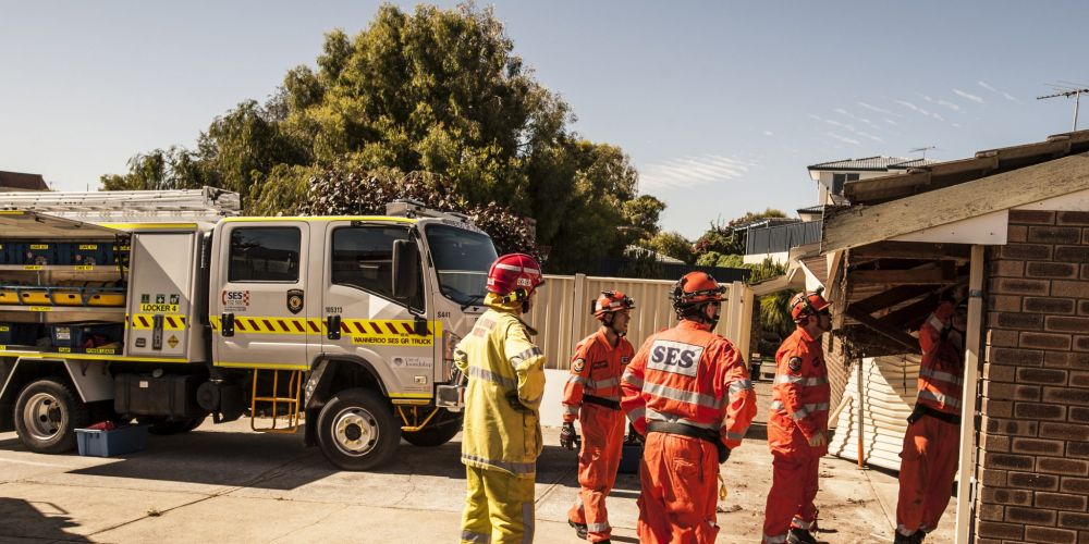 Emergency crews at the scene of the accident in Quinns Rock, when a car crashed into a garage this morning. Picture: Josh Tucker