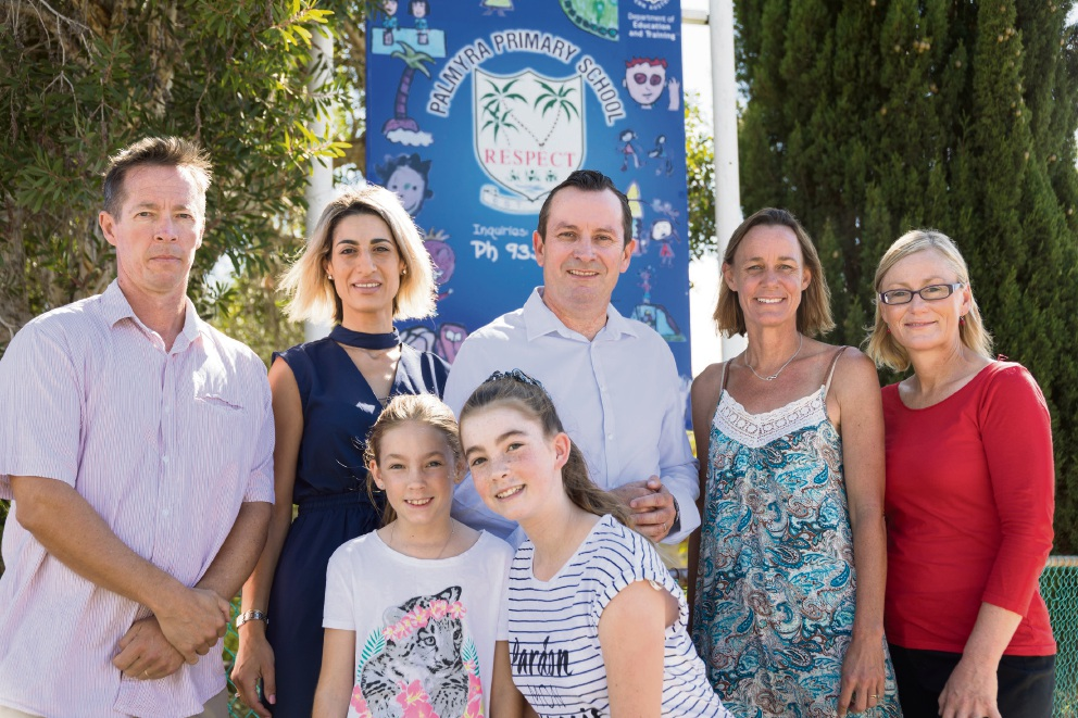Bicton Primary School P&C presidents Nick Emeljanow and Marie Protich, Opposition Leader Mark McGowan, Palmyra Primary School P&C President Kate Hollick and Labor candidate for Bicton Lisa O'Malley. Front: Jessica and Tara Emeljanow.