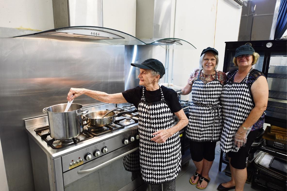 Rose Kennedy, Margaret Hoogewerf and Cheryl Aldersea in the Great Life Church kitchen. Picture: Jon Hewson www.communitypix.com.au   d466016