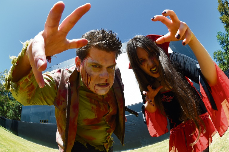 Jordan Daniel-Fowler and Vanessa Gudgeon get ready for Horror for the Homeless. Picture: Jon Hewson
