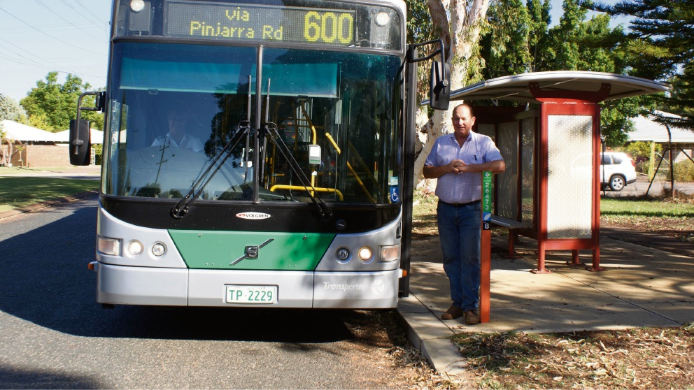 Murray MLA Murray Cowper and the 600 bus service he has been lobbying to extend to weekends.