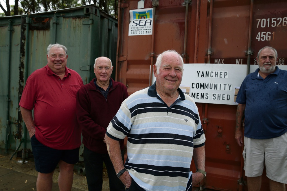 Yanchep Community Men's Shed members Lou Dorsa,John Hollingsworth,Malcolm Gow and John Morrison. Picture: Martin Kennealey d464757