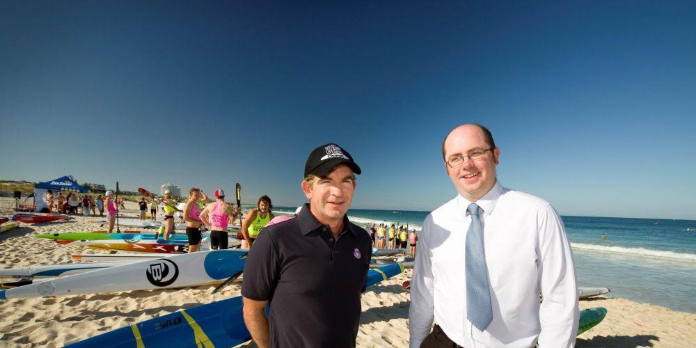 Surf Life Saving WA chief executive James O'Toole and City of Stirling deputy mayor Keith Sargent at Trigg Beach.
