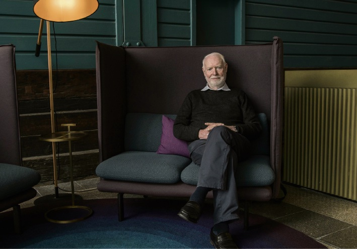 David Stratton on the set of his documentary David Stratton: A Cinematic Life. Picture: Mark Roberts