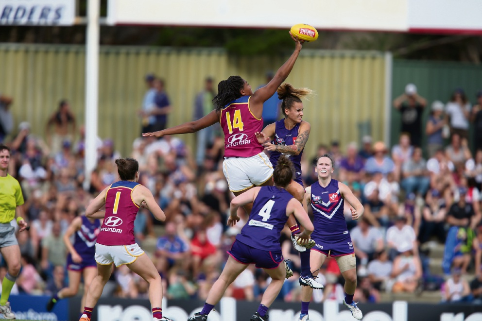 Brisbane's Sabrina Frederick-Traub (number 14), a South Fremantle product, was in action against Fremantle on Sunday.